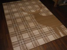 Rugs Approx 8x5ft 160cmx230cm Woven Backed Top Quality stag Check Large Beige